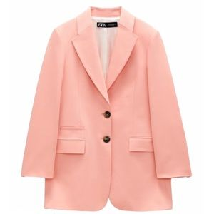 NEW Zara Long Buttoned Oversized Blazer in Coral